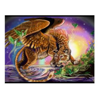 Dusk Hunter Flying Cat Postcard