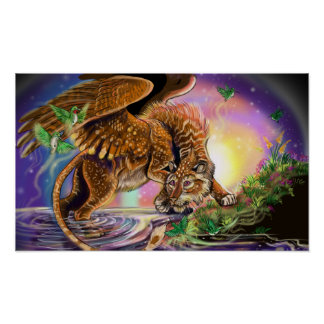 Dusk Hunter Flying Cat Poster