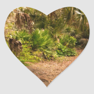 Dusk in Florida Hardwood Hammock Heart Sticker