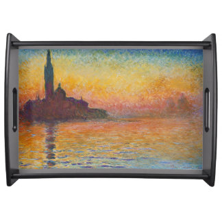Dusk in Venice by Claude Monet Serving Tray