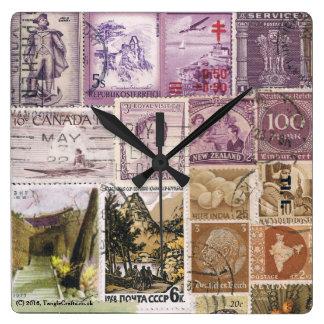 Dusk Landscape Wall Clock, Postage Stamp Art Clocks
