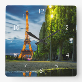 Dusk reflections below the Eiffel Tower Square Wall Clock