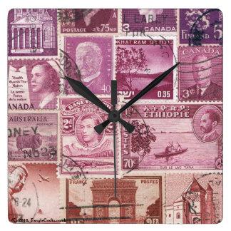 Dusk Sky Ombre Wall Clock, Postage Stamp Art Wallclock