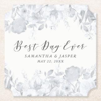 Dusk Watercolor Floral Wedding Party Paper Coaster