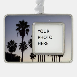 Dusk with Palm Trees Tropical Scene Silver Plated Framed Ornament