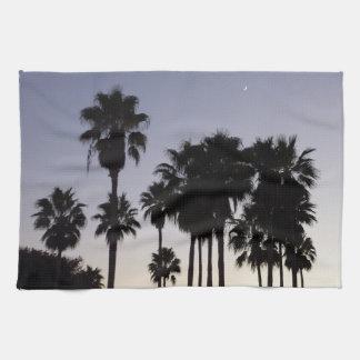 Dusk with Palm Trees Tropical Scene Tea Towel