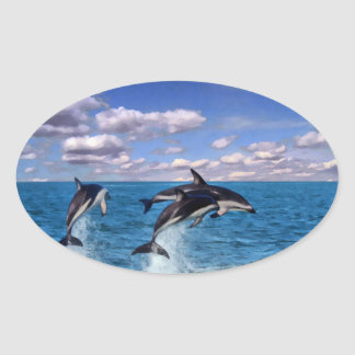 Dusky Dolphins At Play Oval Sticker