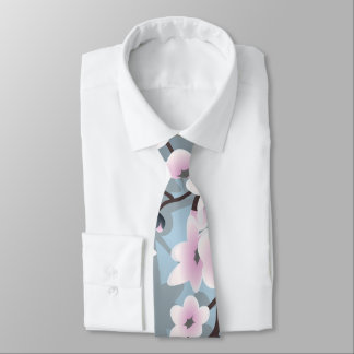 Dusky Pink Blue Shimmering Cherry Blossoms Tie