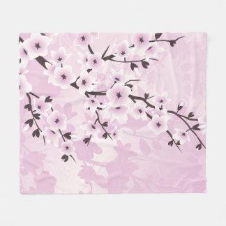 Dusky Pink Cherry Blossom Asia Floral Fleece Blanket