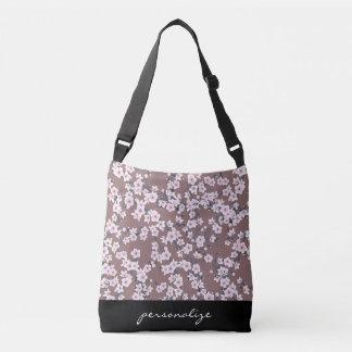 Dusky Pink Cherry Blossoms Pattern Crossbody Bag