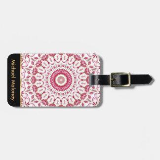 Dusky Pink Floral Mandala Luggage Tag