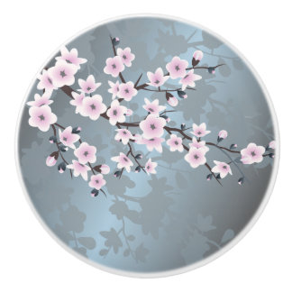 Dusky Pink Grayish Blue Cherry Blossoms Floral Ceramic Knob
