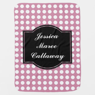 Dusky Pink Polka Dot Baby Name Blanket