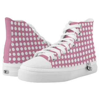 Dusky Pink Polka Dot High Top Women's Shoes Printed Shoes