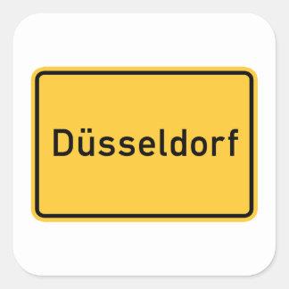 Dusseldorf, Germany Road Sign Square Sticker