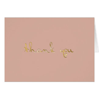 Dusted Rose Gold Embossed-effect Heart Thank You Card