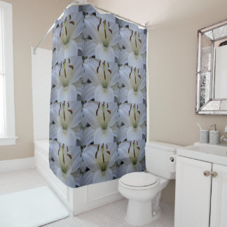 Dusted White Lily Shower Curtain