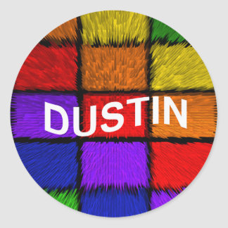 DUSTIN ROUND STICKER