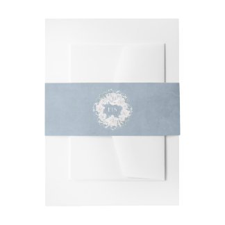 Dusty Blue and Baby's Breath Floral Wreath Invitation Belly Band