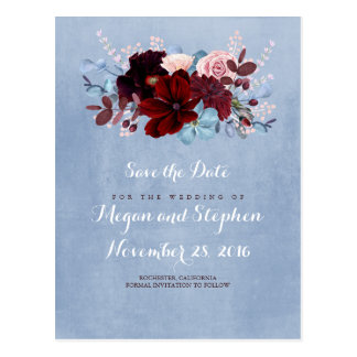 Dusty Blue and Burgundy Save the Date Postcard