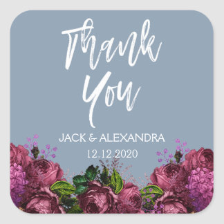 Dusty Blue and Cranberry Thank You Envelope Seal