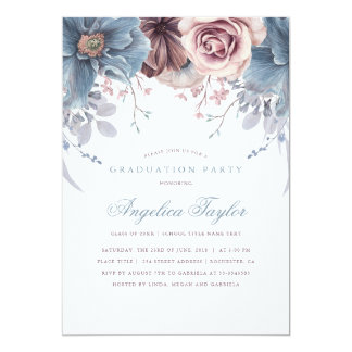 Dusty Blue and Mauve Floral Graduation Party Card