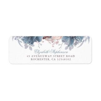 Dusty Blue and Mauve Floral Vintage Wedding Return Address Label