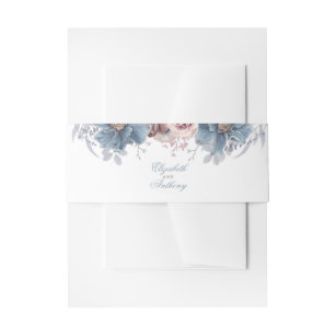 Dusty Blue and Mauve Florals Invitation Belly Band