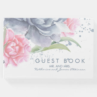 Dusty Blue and Pink Floral Watercolors Wedding Guest Book