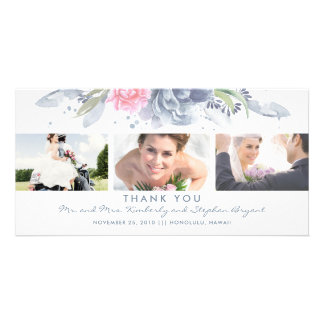 Dusty Blue and Pink Floral Wedding Thank You Card