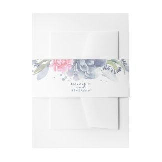 Dusty Blue and Pink Watercolor Flowers Invitation Belly Band