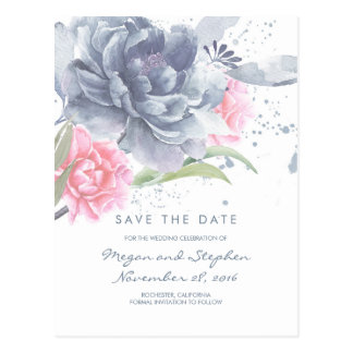 Dusty Blue and Rose Quartz Floral Save the Date Postcard