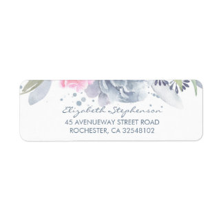 Dusty Blue and Soft Pink Watercolor Flowers Return Address Label