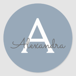 Dusty Blue and White Name and Initial Monogram Classic Round Sticker