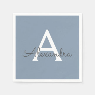 Dusty Blue and White Name and Initial Monogram Disposable Serviettes