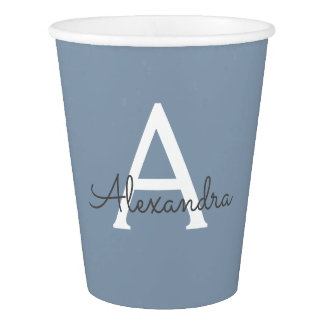 Dusty Blue and White Name and Initial Monogram Paper Cup