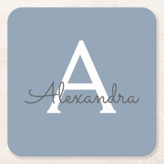 Dusty Blue and White Name and Initial Monogram Square Paper Coaster