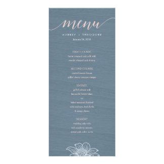 Dusty Blue & Blush Flowers Wedding Menu - Dark