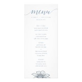 Dusty Blue & Blush Flowers Wedding Menu - Light