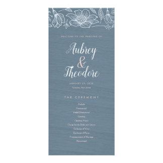 Dusty Blue & Blush Flowers Wedding Program - Dark Rack Card