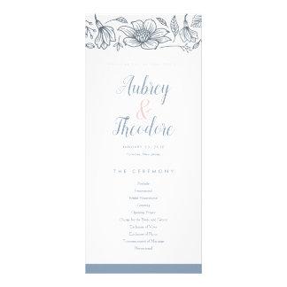 Dusty Blue & Blush Flowers Wedding Program Rack Card