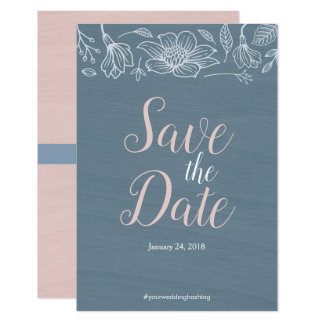 Dusty Blue & Blush Flowers Wedding Save The Date Card
