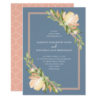 Dusty Blue Blush Watercolor Spring Floral Wedding Card