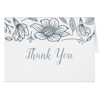 Dusty Blue & Blush Wedding Thank You Cards - Light