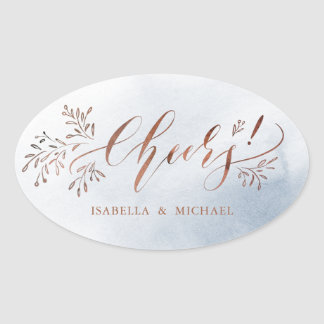 Dusty blue calligraphy cheers rustic floral oval sticker