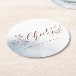 Dusty blue calligraphy cheers rustic floral party round paper coaster