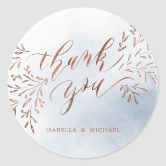 Dusty blue calligraphy thank you rustic floral classic round sticker