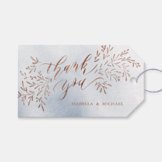 Dusty blue calligraphy thank you rustic floral gift tags