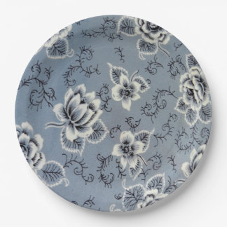 Dusty Blue Colonial Floral Pattern   Plate 9 Inch Paper Plate