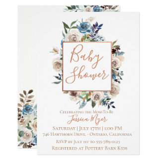 Dusty Blue Cream Floral Baby Shower Invitation